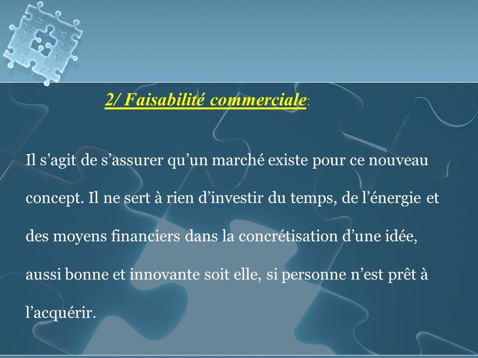 2/ Faisabilité commerciale : Il sagit de sassurer quun marché existe pour ce nouveau concept.