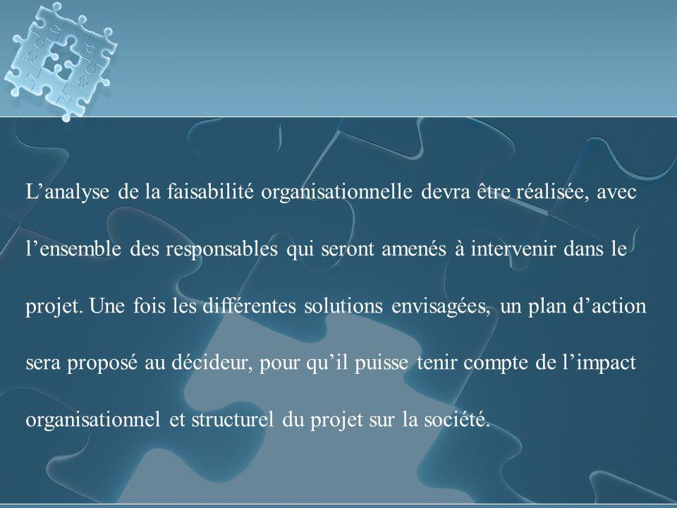 Lanalyse de la faisabilité organisationnelle devra être réalisée, avec lensemble des responsables qui seront amenés à intervenir dans le projet.