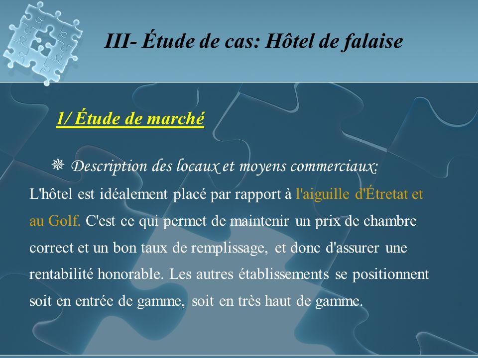 1/ Étude de marché Description des locaux et moyens commerciaux: L hôtel est idéalement placé par rapport à l aiguille d Étretat et au Golf.