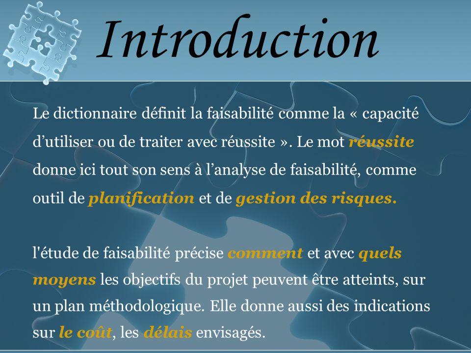 Introduction Le dictionnaire définit la faisabilité comme la « capacité dutiliser ou de traiter avec réussite ».