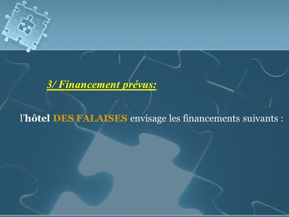 3/ Financement prévus: lhôtel DES FALAISES envisage les financements suivants :