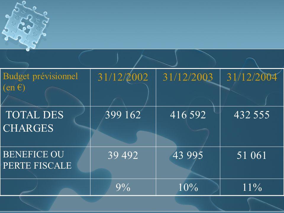 Budget prévisionnel (en ) 31/12/200231/12/200331/12/2004 TOTAL DES CHARGES 399 162416 592432 555 BENEFICE OU PERTE FISCALE 39 49243 99551 061 9%10%11%
