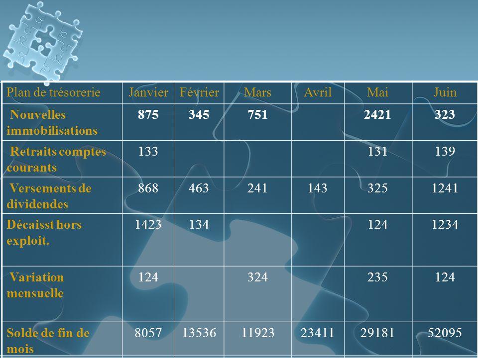 Plan de trésorerieJanvierFévrierMarsAvrilMaiJuin Nouvelles immobilisations 8753457512421323 Retraits comptes courants 133131139 Versements de dividendes 8684632411433251241 Décaisst hors exploit.