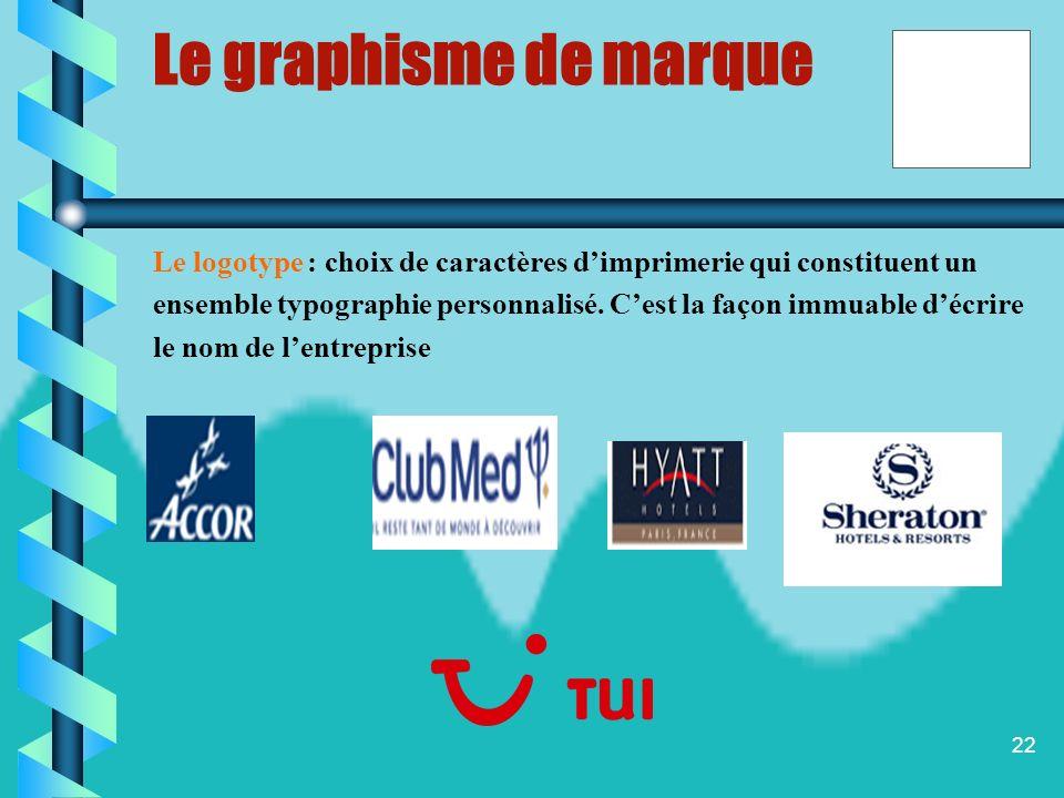 21 Le graphisme de marque Le graphisme dune marque correspond à différents élément qui permettent lidentification visuelle dune société ou dun produit