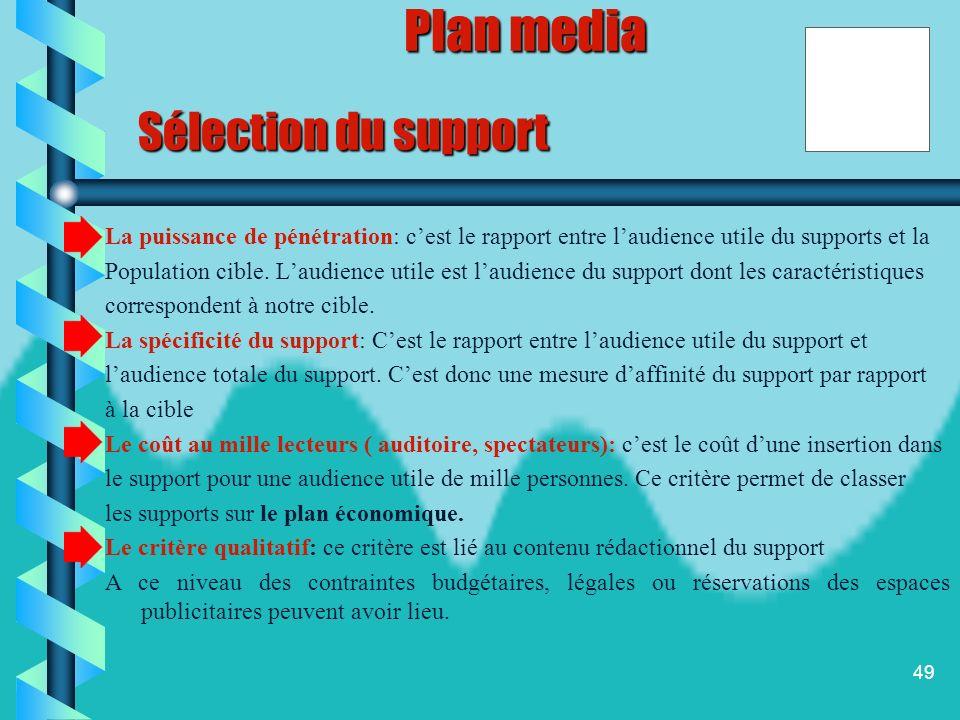 48 Sélection du support Lorsque la répartition du budget entre les différents media sélectionnés est faite, létape suivante consiste à choisir les sup