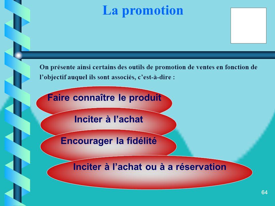 63 l les objectifs de promotion découlent des objectifs de communication qui, sont définis à partir des objectifs marketing. La nature des objectifs d