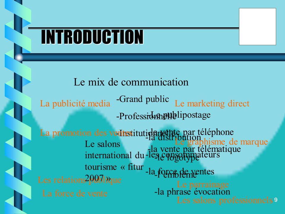 8 La stratégie de communication objectif cible Moyens ( mix de la comuunication) Communication média Communication hors média Plan média Lancer la com