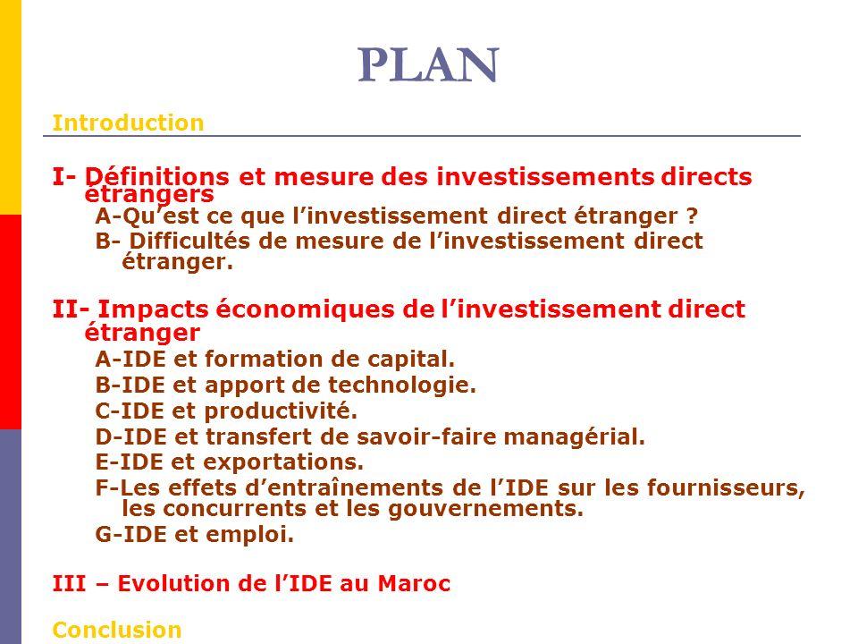 PLAN Introduction I- Définitions et mesure des investissements directs étrangers A-Quest ce que linvestissement direct étranger .