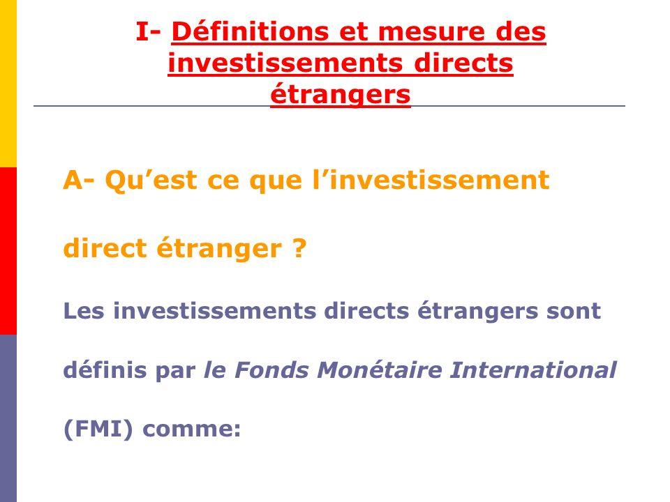 I- Définitions et mesure des investissements directs étrangers A- Quest ce que linvestissement direct étranger .