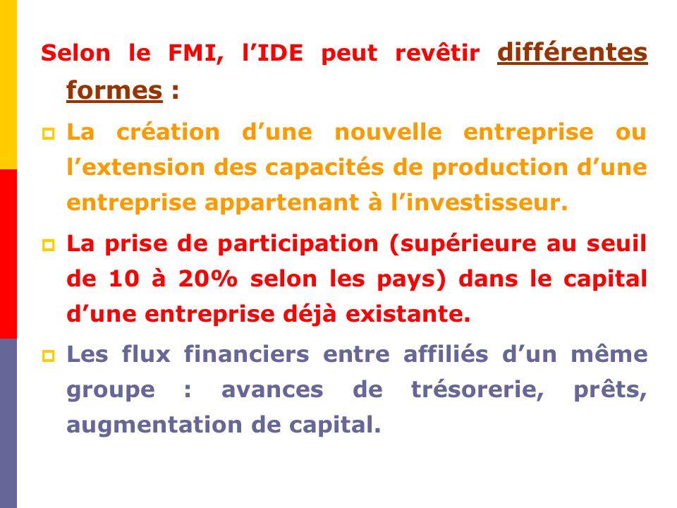 Selon le FMI, lIDE peut revêtir différentes formes : La création dune nouvelle entreprise ou lextension des capacités de production dune entreprise appartenant à linvestisseur.