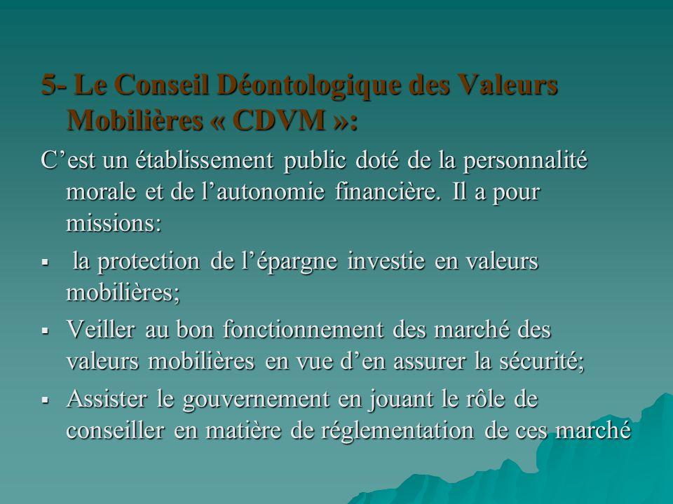 5- Le Conseil Déontologique des Valeurs Mobilières « CDVM »: Cest un établissement public doté de la personnalité morale et de lautonomie financière.