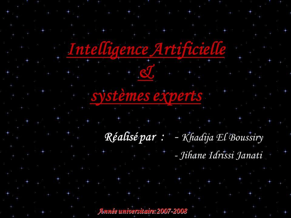 Intelligence Artificielle & systèmes experts Réalisé par : - Khadija El Boussiry - Jihane Idrissi Janati Année universitaire:2007-2008 Année universit