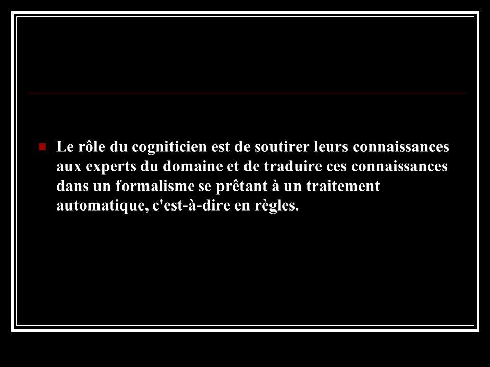 Le rôle du cogniticien est de soutirer leurs connaissances aux experts du domaine et de traduire ces connaissances dans un formalisme se prêtant à un