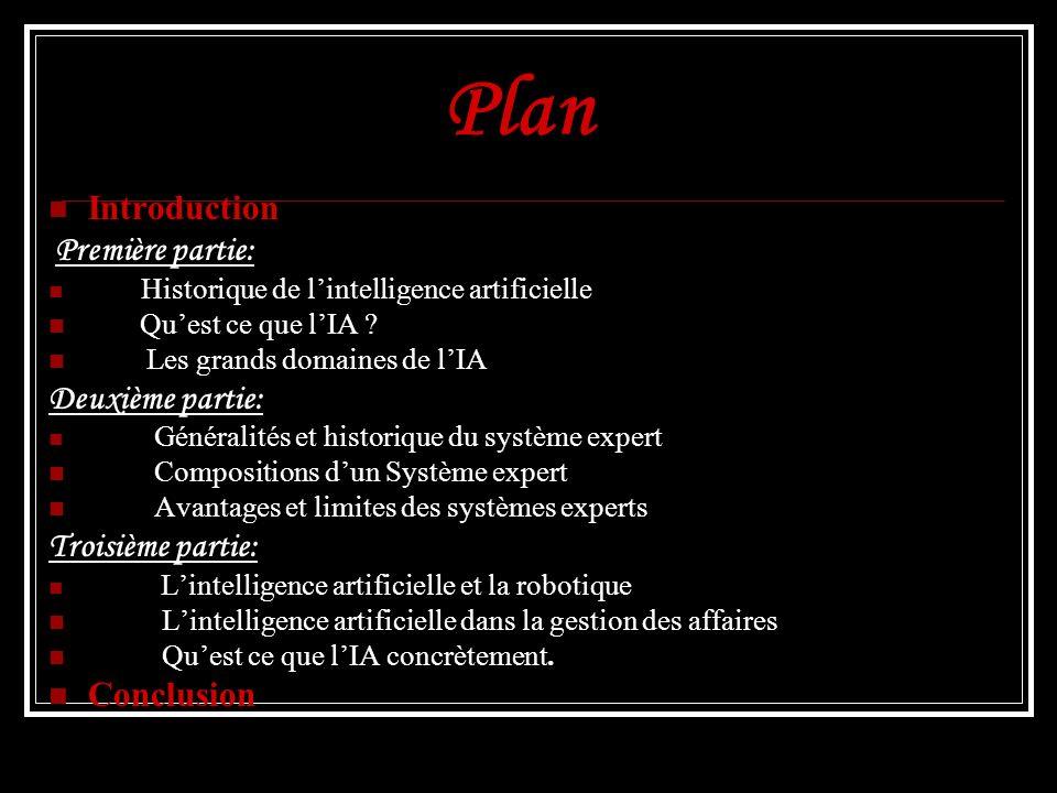 Plan Introduction Première partie: Historique de lintelligence artificielle Quest ce que lIA ? Les grands domaines de lIA Deuxième partie: Généralités