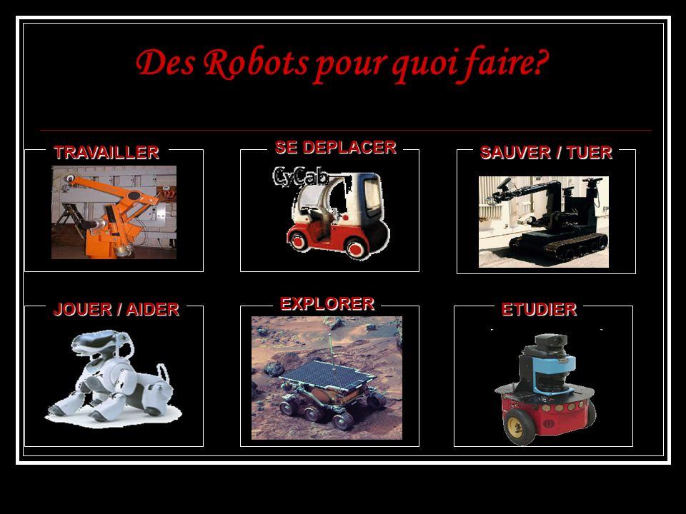 Des Robots pour quoi faire? TRAVAILLER JOUER / AIDER EXPLORER SE DEPLACER SAUVER / TUER ETUDIER