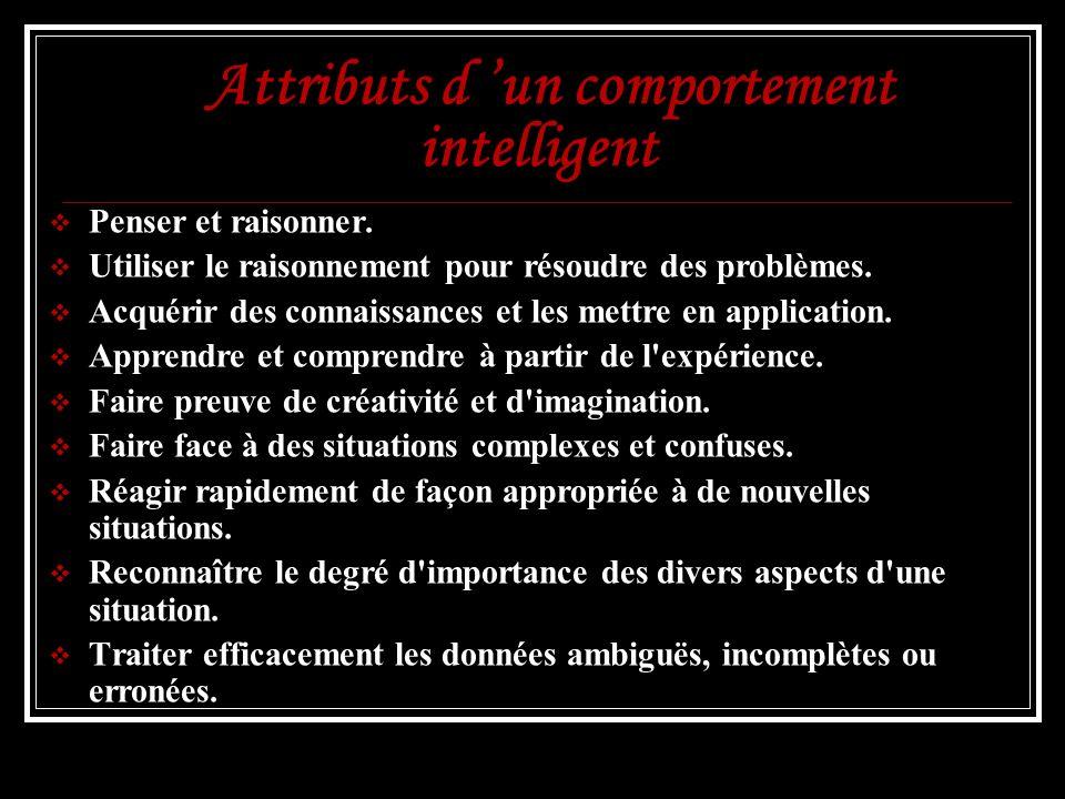 Attributs d un comportement intelligent Penser et raisonner. Utiliser le raisonnement pour résoudre des problèmes. Acquérir des connaissances et les m