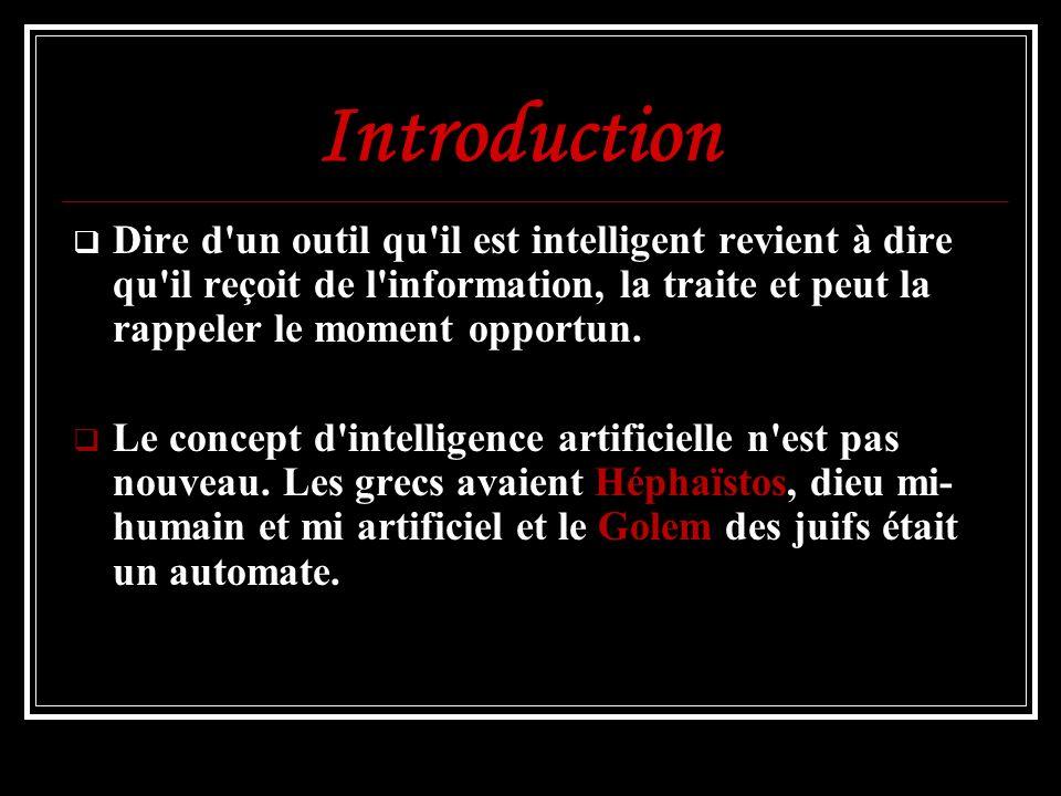 Intelligence artificielle Informatique Les jeux d échecs Cybernétique Psychologie Logique de Turing Psycho- linguistique Science-fiction NeurophysiqueLes automates Héphaïstos (Grèce) Golem (Tradition Juive) Philosophie