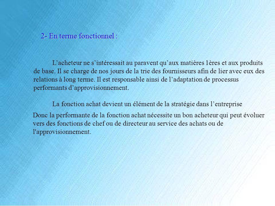 C- Limpact de la fonction achat : La fonction achat a une influence directe sur laccroissement de la performance des achats de tel sorte à ce quelle puissent : Fournir le coût et la qualité de service.