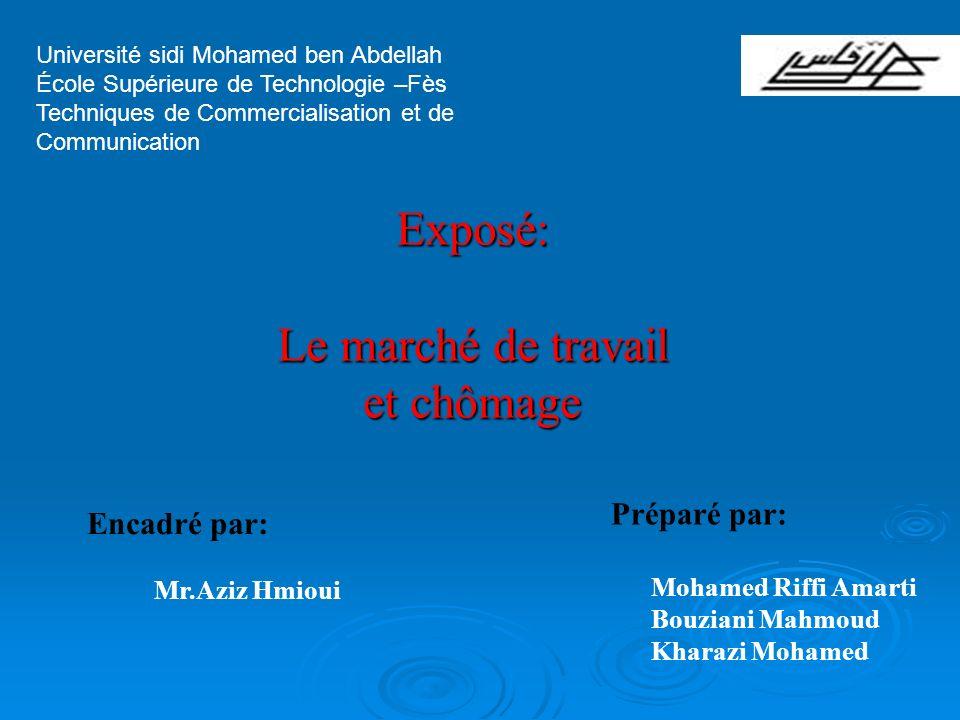Université sidi Mohamed ben Abdellah École Supérieure de Technologie –Fès Techniques de Commercialisation et de Communication Exposé: Le marché de tra