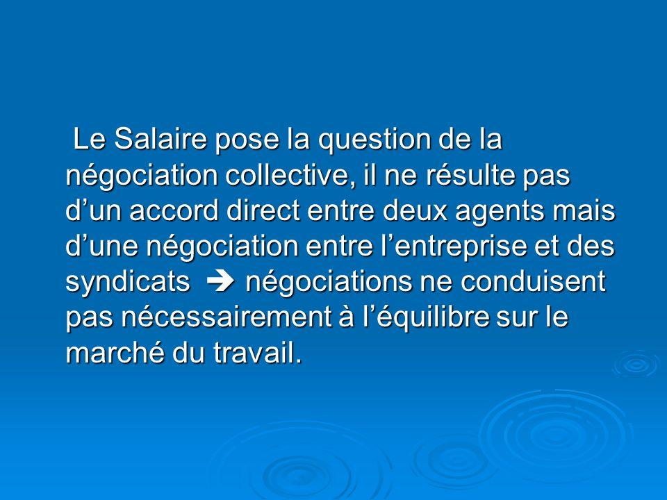 Le Salaire pose la question de la négociation collective, il ne résulte pas dun accord direct entre deux agents mais dune négociation entre lentreprise et des syndicats négociations ne conduisent pas nécessairement à léquilibre sur le marché du travail.