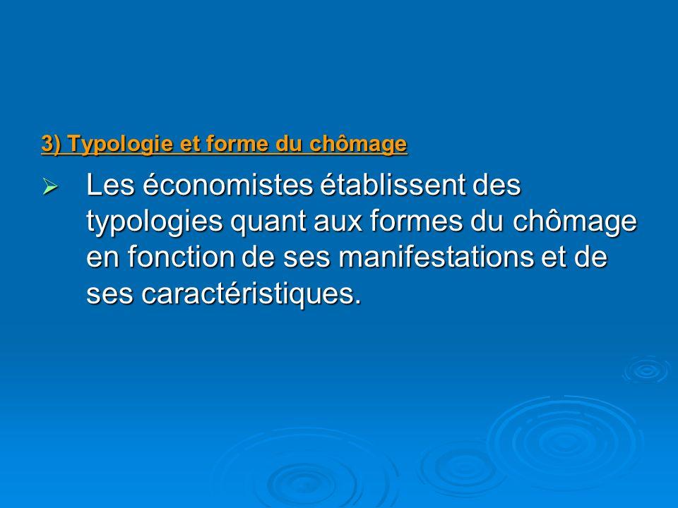 3) Typologie et forme du chômage Les économistes établissent des typologies quant aux formes du chômage en fonction de ses manifestations et de ses caractéristiques.