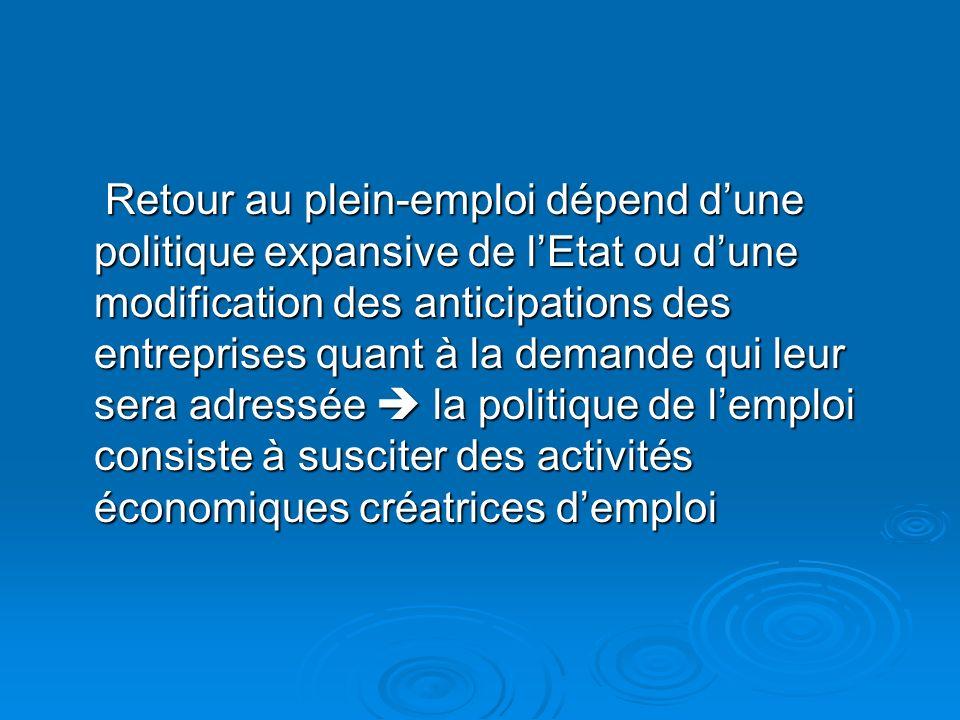 Retour au plein-emploi dépend dune politique expansive de lEtat ou dune modification des anticipations des entreprises quant à la demande qui leur ser