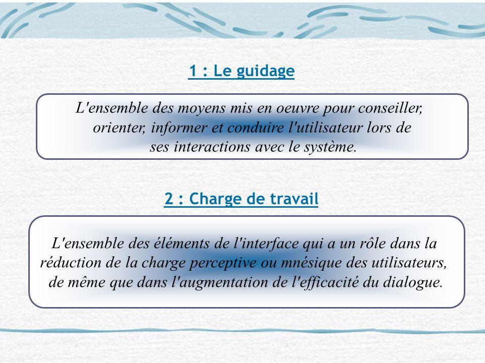 1 : Le guidage 2 : Charge de travail L'ensemble des moyens mis en oeuvre pour conseiller, orienter, informer et conduire l'utilisateur lors de ses int