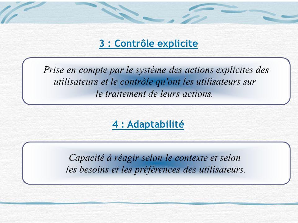 3 : Contrôle explicite 4 : Adaptabilité Prise en compte par le système des actions explicites des utilisateurs et le contrôle qu'ont les utilisateurs