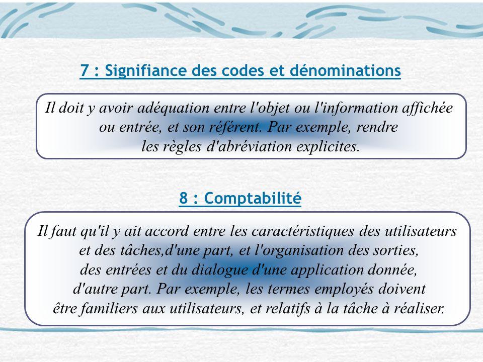 7 : Signifiance des codes et dénominations 8 : Comptabilité Il doit y avoir adéquation entre l'objet ou l'information affichée ou entrée, et son référ