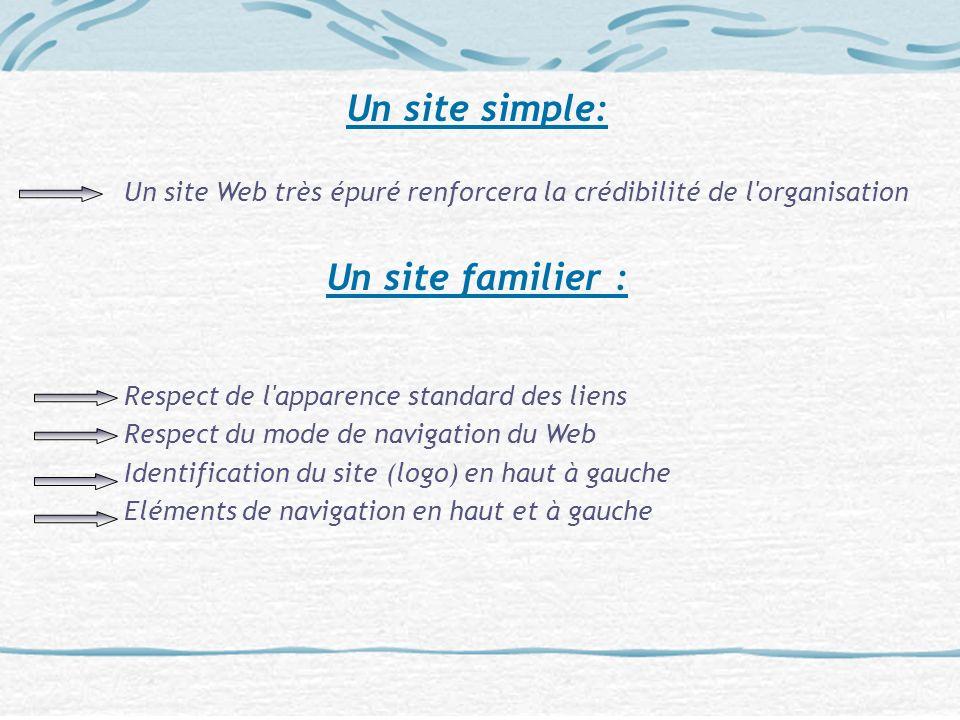 Un site simple: Un site Web très épuré renforcera la crédibilité de l'organisation Un site familier : Respect de l'apparence standard des liens Respec