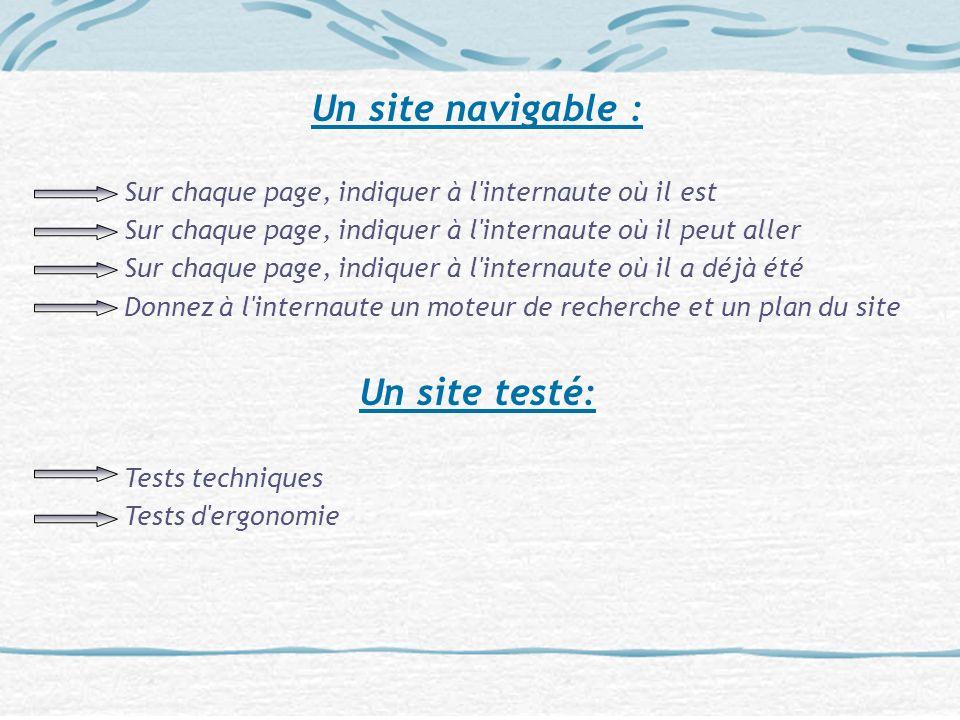 Un site navigable : Sur chaque page, indiquer à l'internaute où il est Sur chaque page, indiquer à l'internaute où il peut aller Sur chaque page, indi
