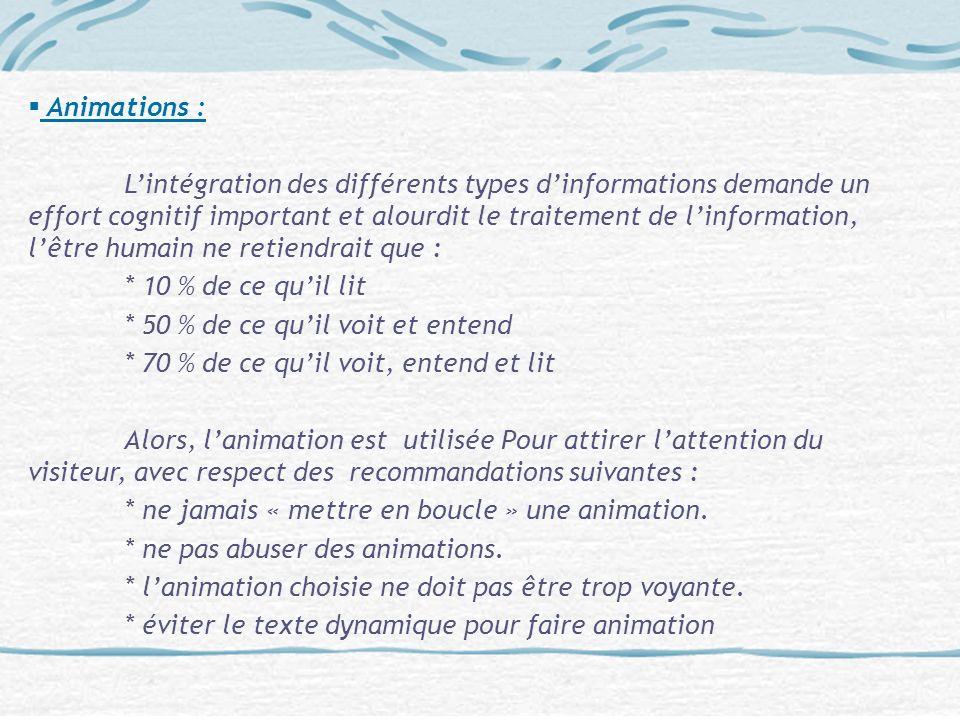 Animations : Lintégration des différents types dinformations demande un effort cognitif important et alourdit le traitement de linformation, lêtre hum