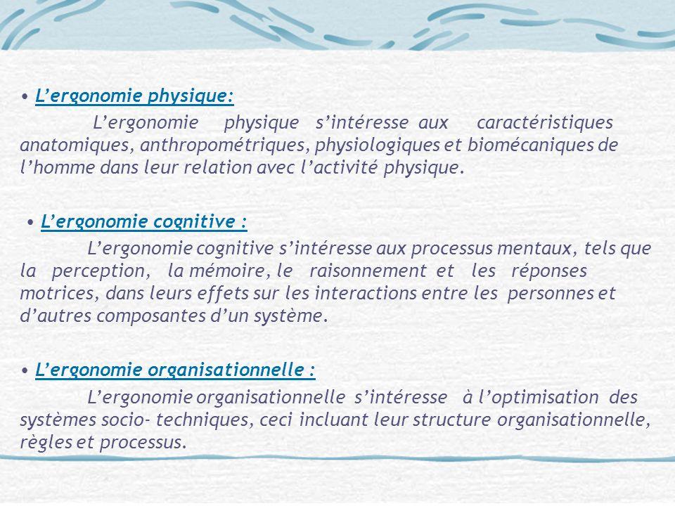 Lergonomie physique: Lergonomie physique sintéresse aux caractéristiques anatomiques, anthropométriques, physiologiques et biomécaniques de lhomme dan