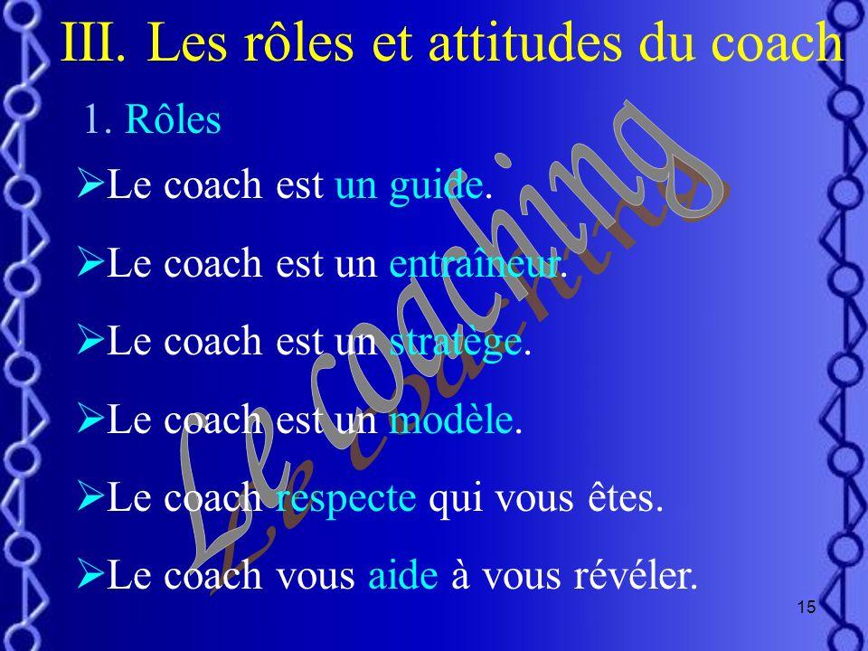 14 Coaching individuel Coaching déquipe Team building Développer lestime de soi Objectif commun