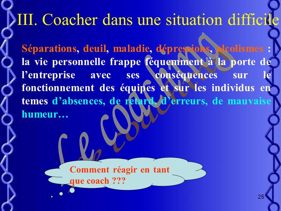 24 II. Cycle de vie dune équipe inclusion influence ouverture influence inclusion Appartenance Étape de création/développementÉtape de progressionÉtap