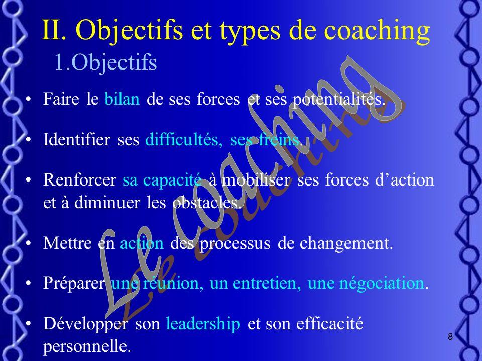 7 I.Définitions du coaching Le coaching est laccompagnement individuel et personnalisé dune personne à un moment clé de sa vie vers un objectifs préci