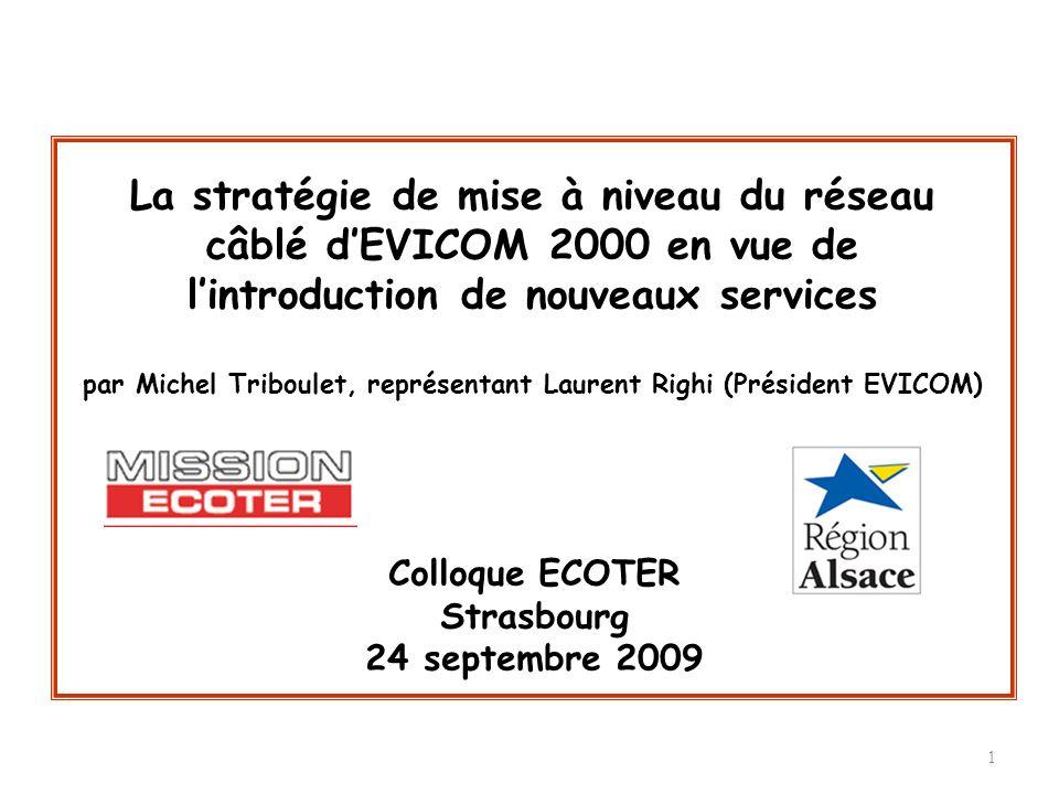 1 Colloque ECOTER Strasbourg 24 septembre 2009 La stratégie de mise à niveau du réseau câblé dEVICOM 2000 en vue de lintroduction de nouveaux services