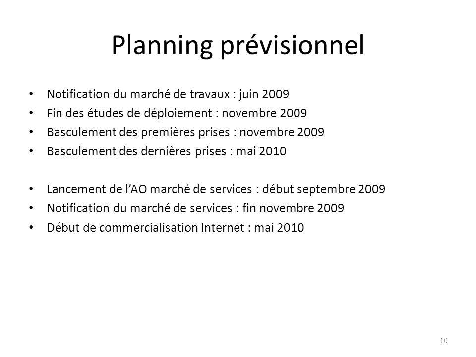 10 Planning prévisionnel Notification du marché de travaux : juin 2009 Fin des études de déploiement : novembre 2009 Basculement des premières prises