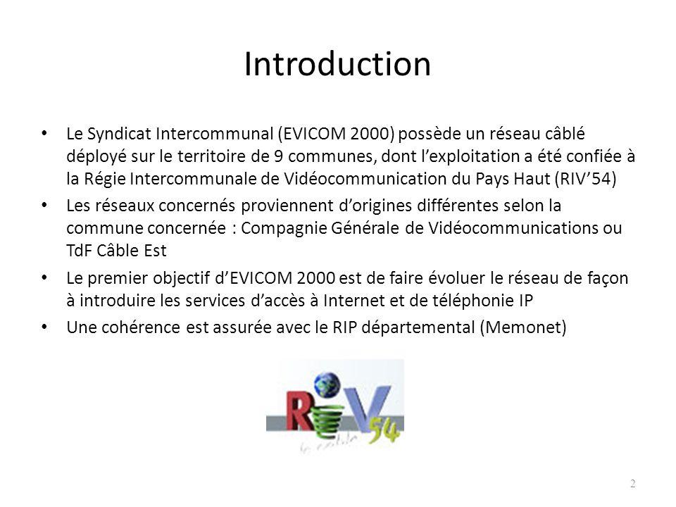 2 Introduction Le Syndicat Intercommunal (EVICOM 2000) possède un réseau câblé déployé sur le territoire de 9 communes, dont lexploitation a été confi