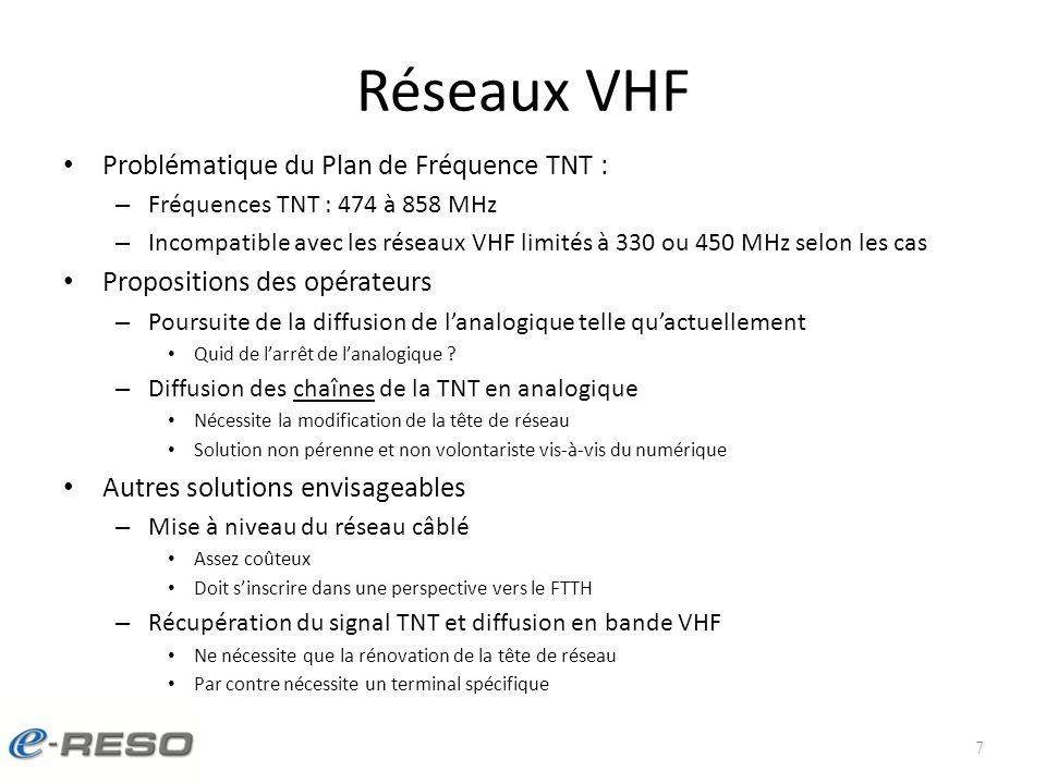 Réseaux VHF Problématique du Plan de Fréquence TNT : – Fréquences TNT : 474 à 858 MHz – Incompatible avec les réseaux VHF limités à 330 ou 450 MHz selon les cas Propositions des opérateurs – Poursuite de la diffusion de lanalogique telle quactuellement Quid de larrêt de lanalogique .