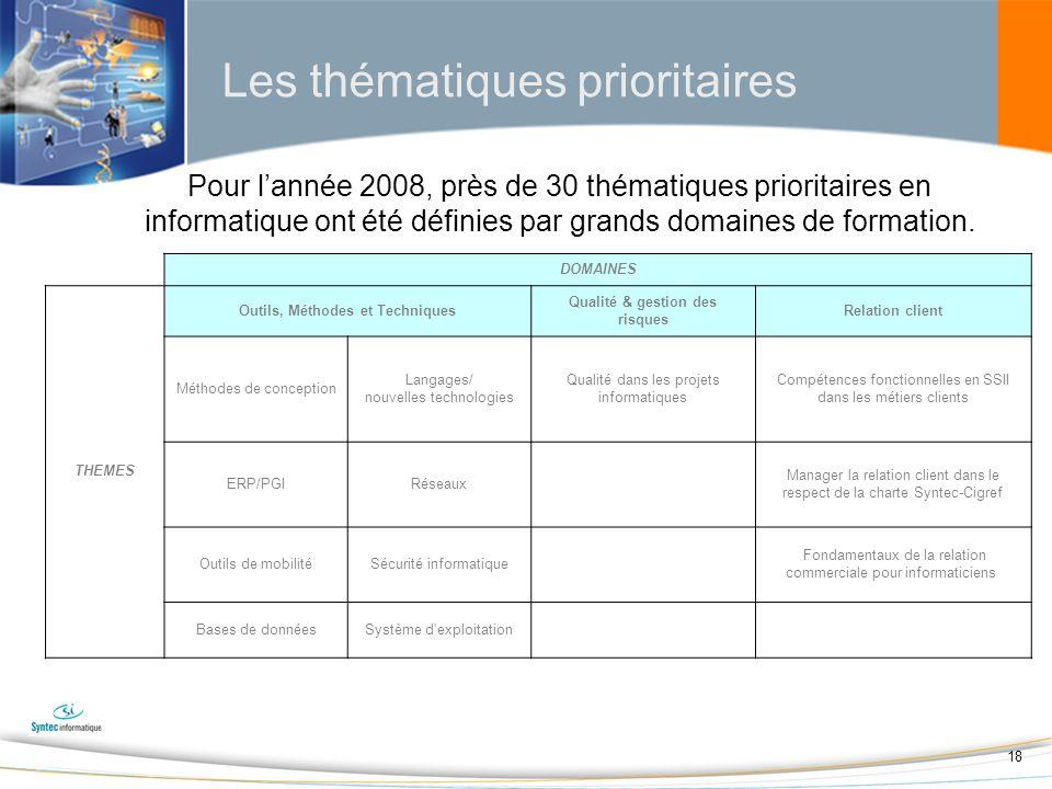 18 Pour lannée 2008, près de 30 thématiques prioritaires en informatique ont été définies par grands domaines de formation.