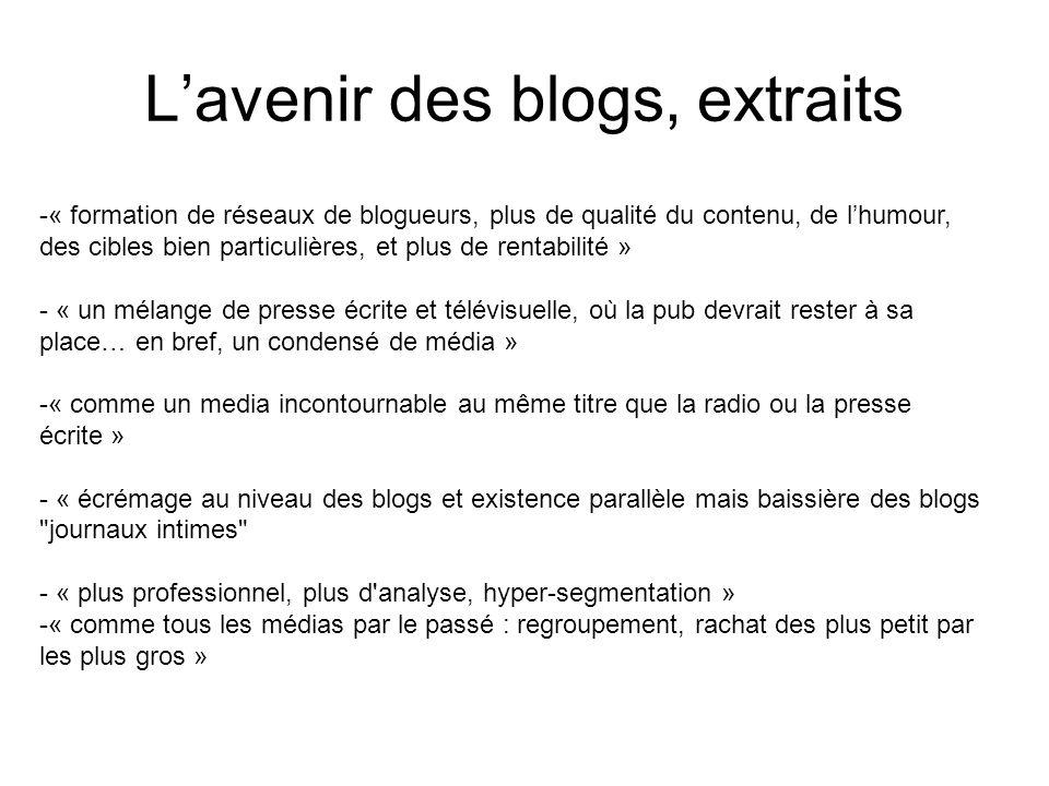 Lavenir des blogs, extraits -« formation de réseaux de blogueurs, plus de qualité du contenu, de lhumour, des cibles bien particulières, et plus de rentabilité » - « un mélange de presse écrite et télévisuelle, où la pub devrait rester à sa place… en bref, un condensé de média » -« comme un media incontournable au même titre que la radio ou la presse écrite » - « écrémage au niveau des blogs et existence parallèle mais baissière des blogs journaux intimes - « plus professionnel, plus d analyse, hyper-segmentation » -« comme tous les médias par le passé : regroupement, rachat des plus petit par les plus gros »