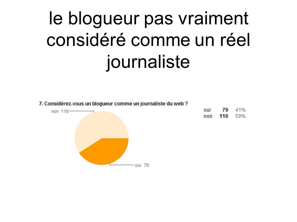 le blogueur pas vraiment considéré comme un réel journaliste