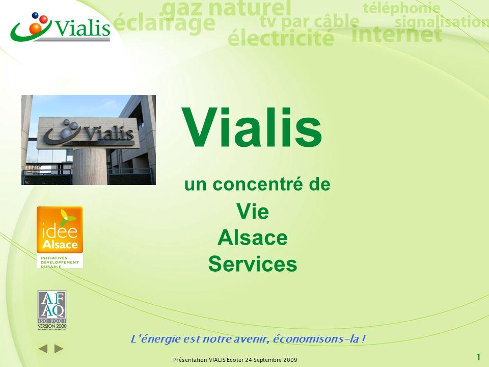 Présentation VIALIS Ecoter 24 Septembre 2009 1 Vialis un concentré de Vie Alsace Services Lénergie est notre avenir, économisons-la !