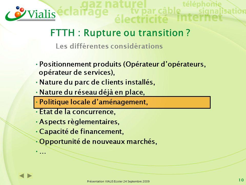 Présentation VIALIS Ecoter 24 Septembre 2009 10 Positionnement produits (Opérateur dopérateurs, opérateur de services), Nature du parc de clients inst