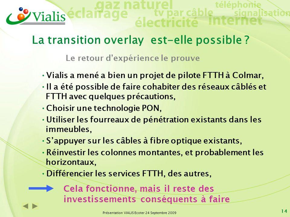 Présentation VIALIS Ecoter 24 Septembre 2009 14 La transition overlay est-elle possible ? Vialis a mené a bien un projet de pilote FTTH à Colmar, Il a