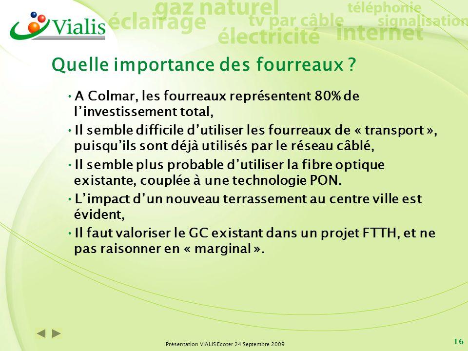 Présentation VIALIS Ecoter 24 Septembre 2009 16 Quelle importance des fourreaux ? A Colmar, les fourreaux représentent 80% de linvestissement total, I