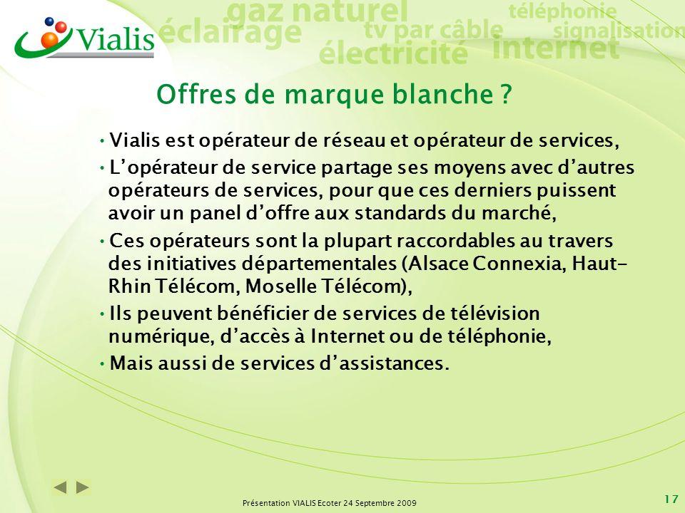 Présentation VIALIS Ecoter 24 Septembre 2009 17 Offres de marque blanche ? Vialis est opérateur de réseau et opérateur de services, Lopérateur de serv