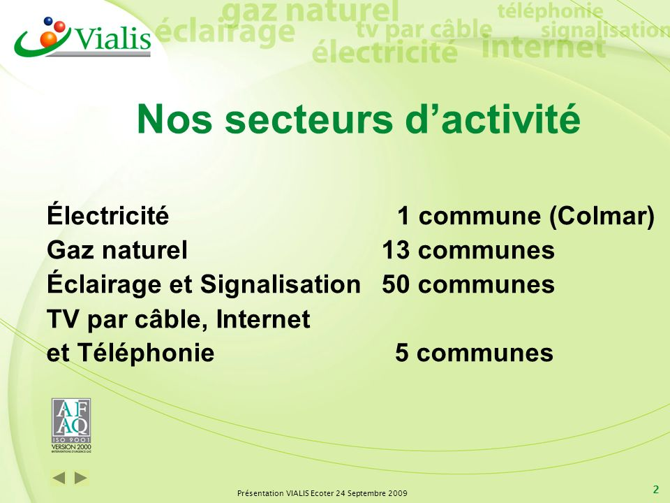 Présentation VIALIS Ecoter 24 Septembre 2009 2 Nos secteurs dactivité Électricité 1 commune (Colmar) Gaz naturel13 communes Éclairage et Signalisation