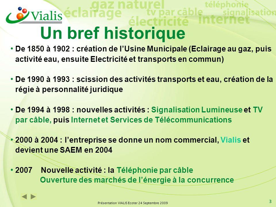 Présentation VIALIS Ecoter 24 Septembre 2009 3 Un bref historique De 1850 à 1902 : création de lUsine Municipale (Eclairage au gaz, puis activité eau,